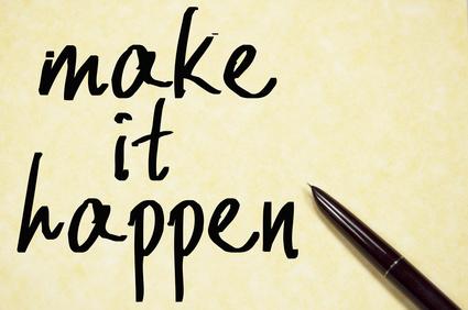 make it happen text write on paper