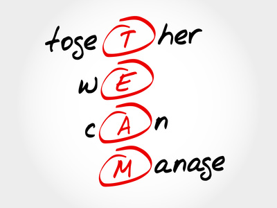 TEAM - Together We Can Manage, acronym business concept