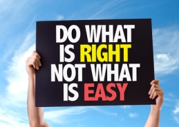 Do What Is Right Not What Is Easy card with sky background
